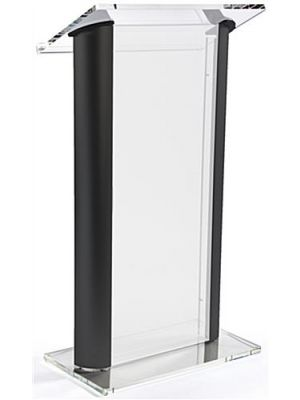 Acrylic Lectern with Black Aluminum Sides, Frosted Front Panel
